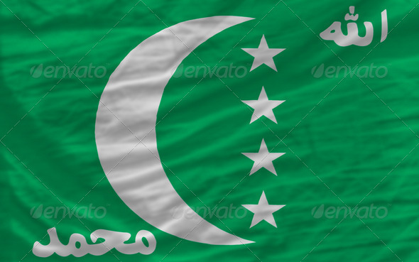 complete waved national flag of  of comoros for background - Stock Photo - Images