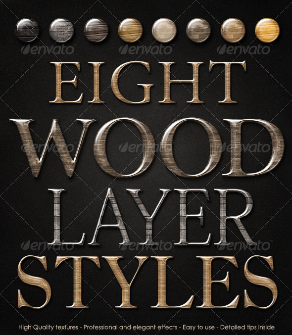Smooth Glossy Elegant Wood Layer Styles - Text Effects Styles