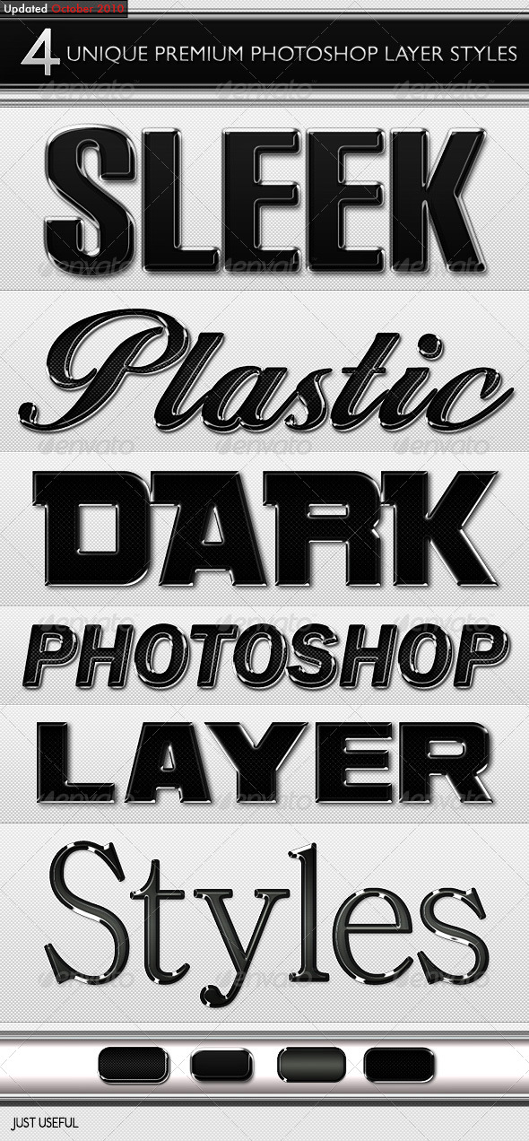 Black Sleek Layer Styles - Photoshop Add-ons
