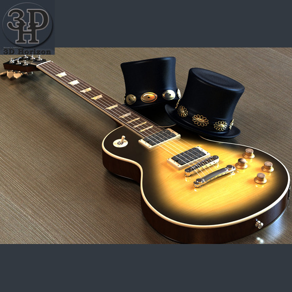 Slash Les Paul Guitar &amp; Top Hat - 3DOcean Item for Sale