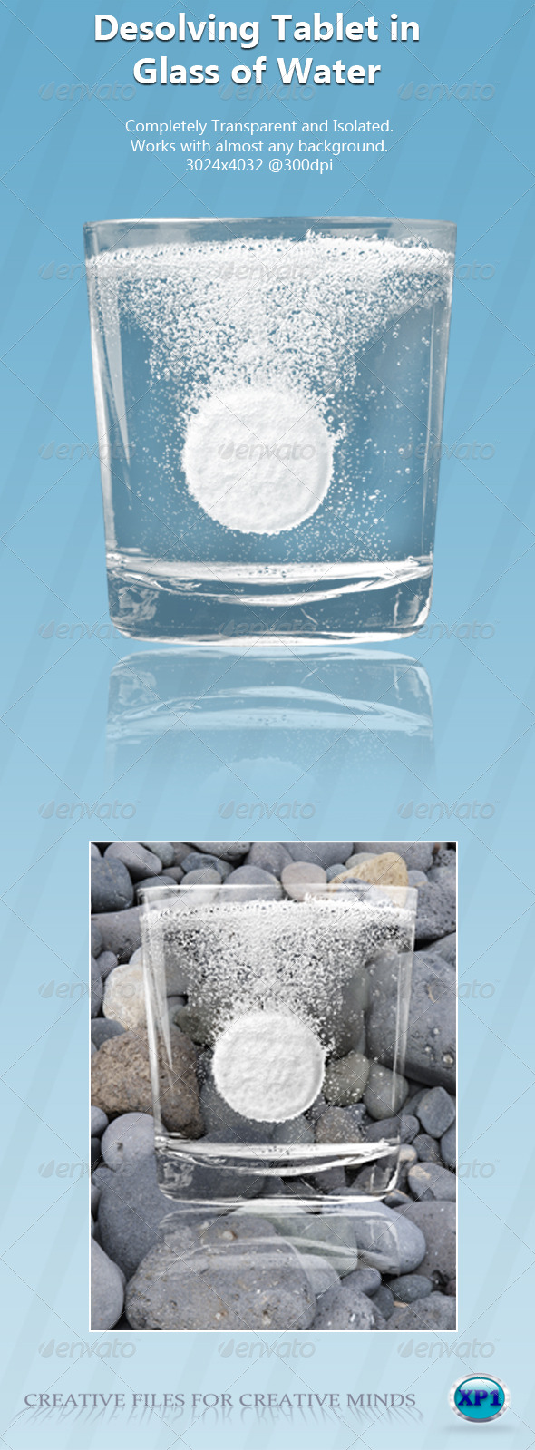 Tablet in Isolated & Transparent Glass of Water - Food & Drink Isolated Objects