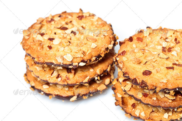 chocolate chip cookies with peanuts - Stock Photo - Images
