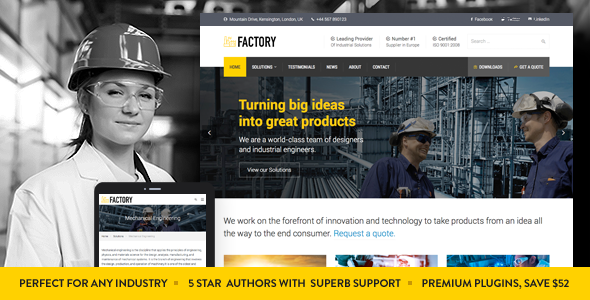 Factory Industrial Business Wordpress Theme By