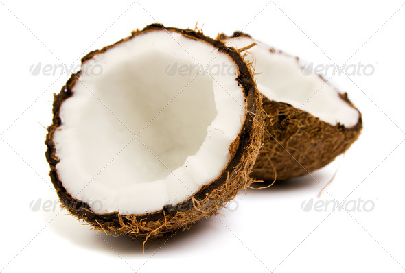 Fresh coconut on white isolated background  - Stock Photo - Images