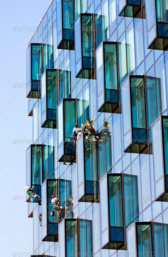 Window cleaner and reflection - Stock Photo - Images