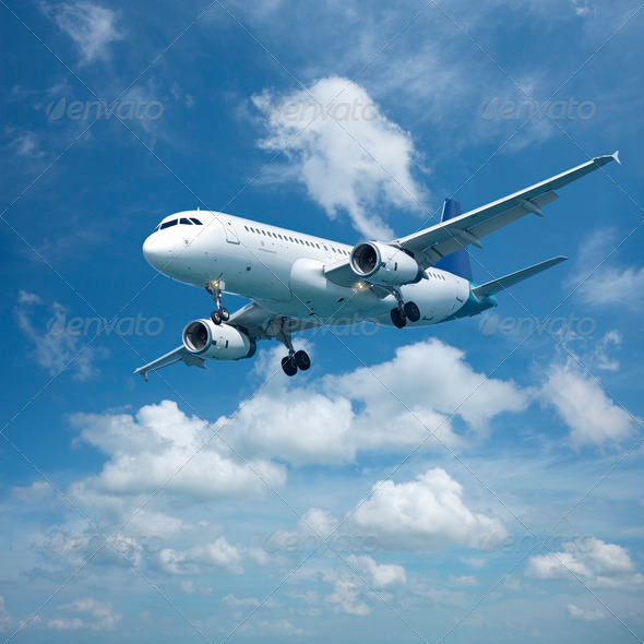 Jet aircraft in flight - Stock Photo - Images