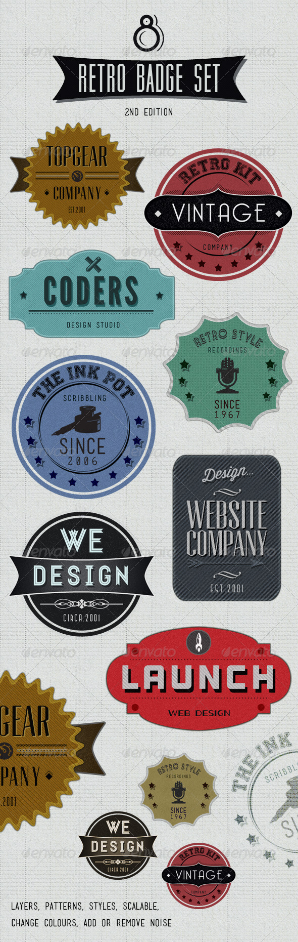 Graphic River Retro Badges Faded Vintage Labels V.2 Web Elements -  Badges & Stickers 1402787