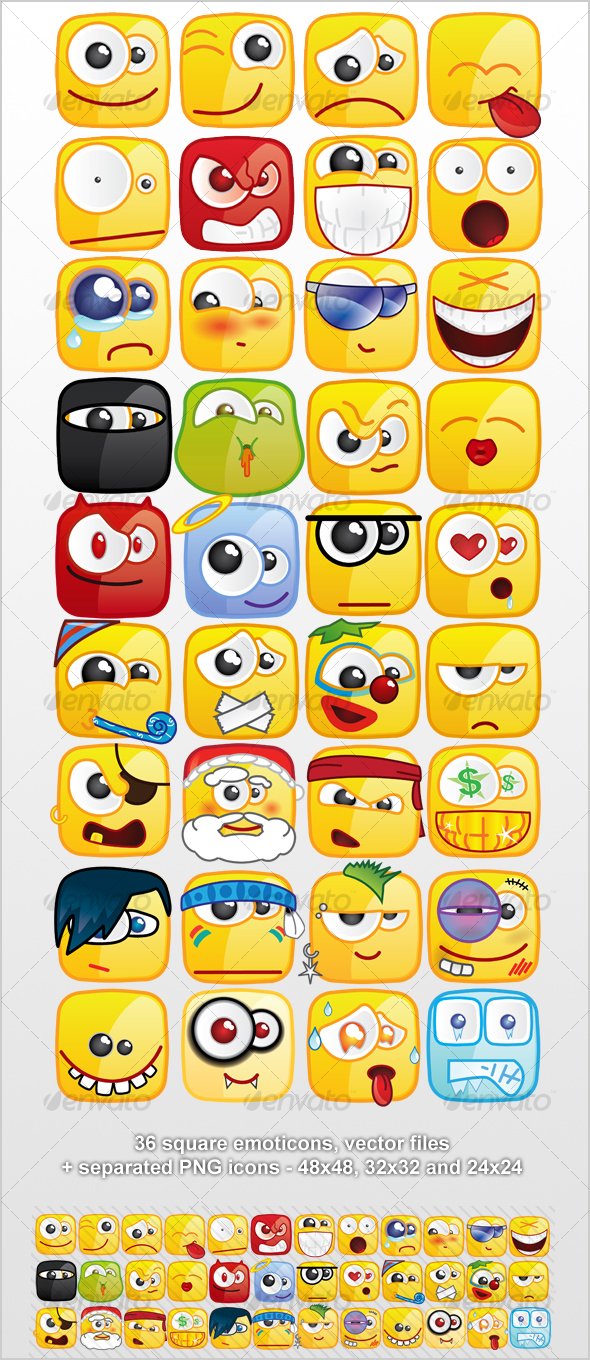 36 Square emoticons PACK - Characters Icons