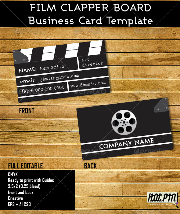 Clapper Board Business Card Template - Industry Specific Business Cards