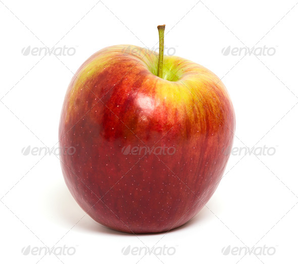 Ripe red apple on a white background  - Stock Photo - Images
