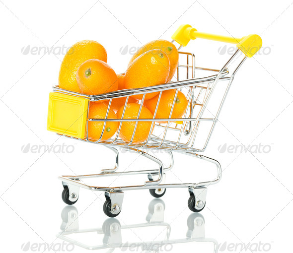 Tangerine in the shopping cart  - Stock Photo - Images