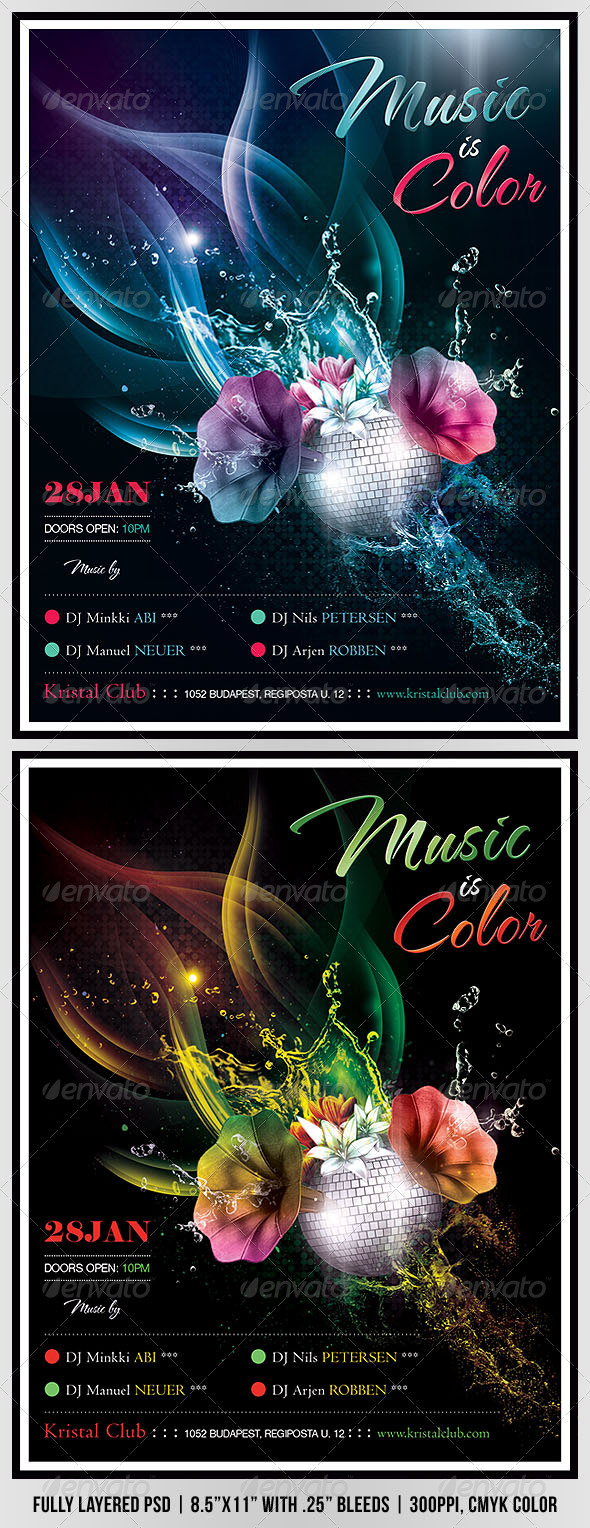Music Is Color Poster/Flyer - Clubs &amp; Parties Events