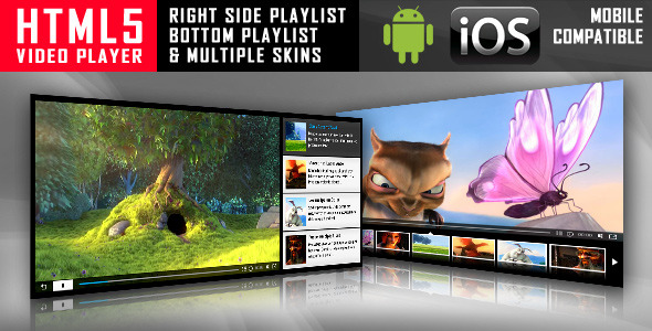 CodeCanyon HTML5 Video Player with Playlist & Multiple Skins 1382684