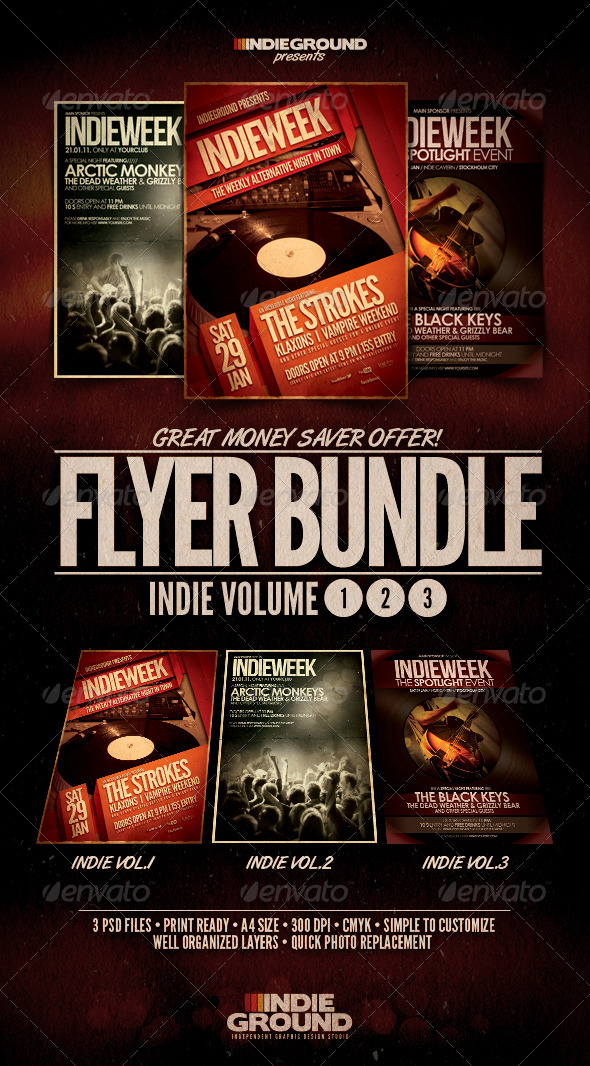 Indie Flyer/Poster Bundle Vol. 1-3 - Clubs & Parties Events