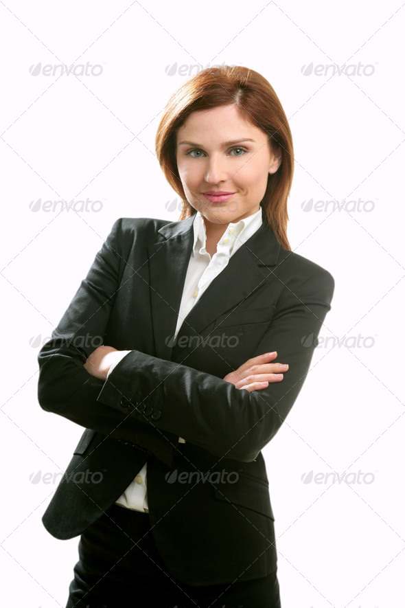 Businesswoman portrait isolated on white - Stock Photo - Images