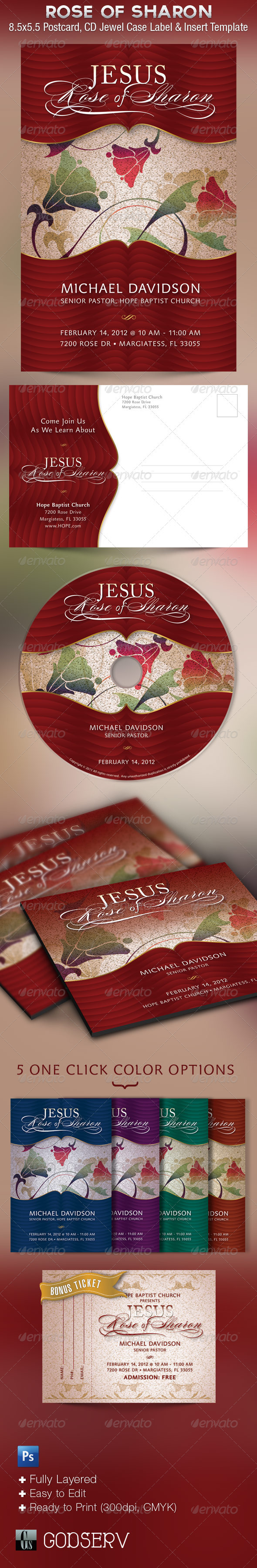 Rose of Sharon Sermon Postcard and CD Template - Church Flyers