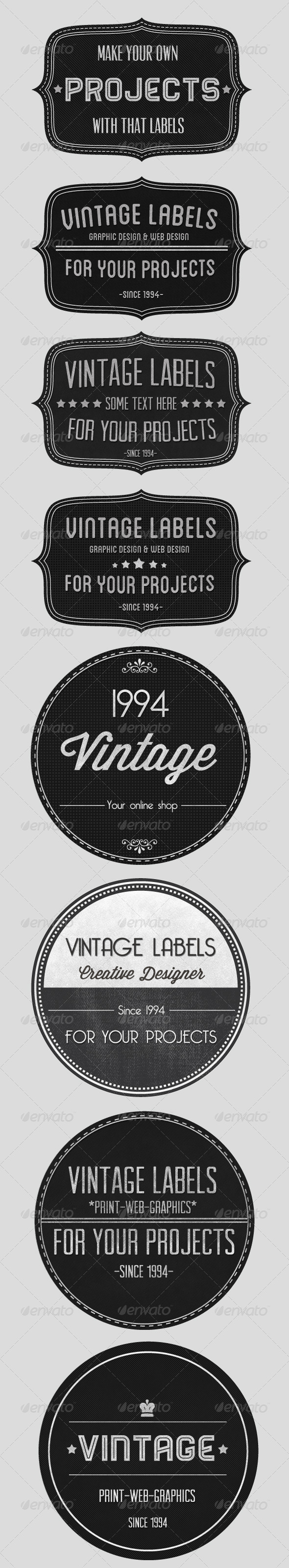 Vintage Badges Set - Badges & Stickers Web Elements