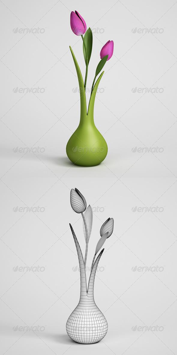 3DOcean CGAxis Tulips in Vase 07 168191