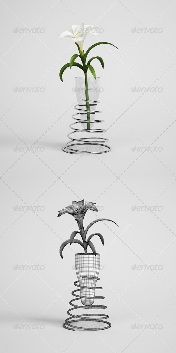 3DOcean CGAxis Lily in Modern Vase 21 168221