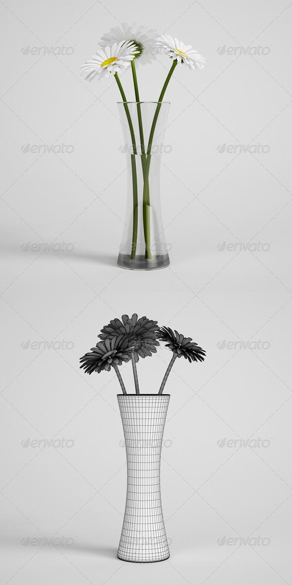 3DOcean CGAxis Daisies in Vase 24 168224