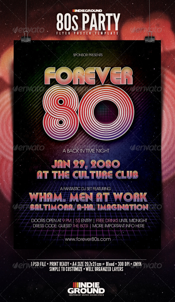 GraphicRiver 80 s Party Flyer Poster 146578
