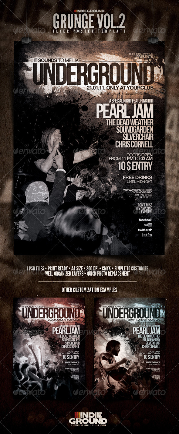 Grunge Flyer/Poster Vol. 2 - Clubs & Parties Events