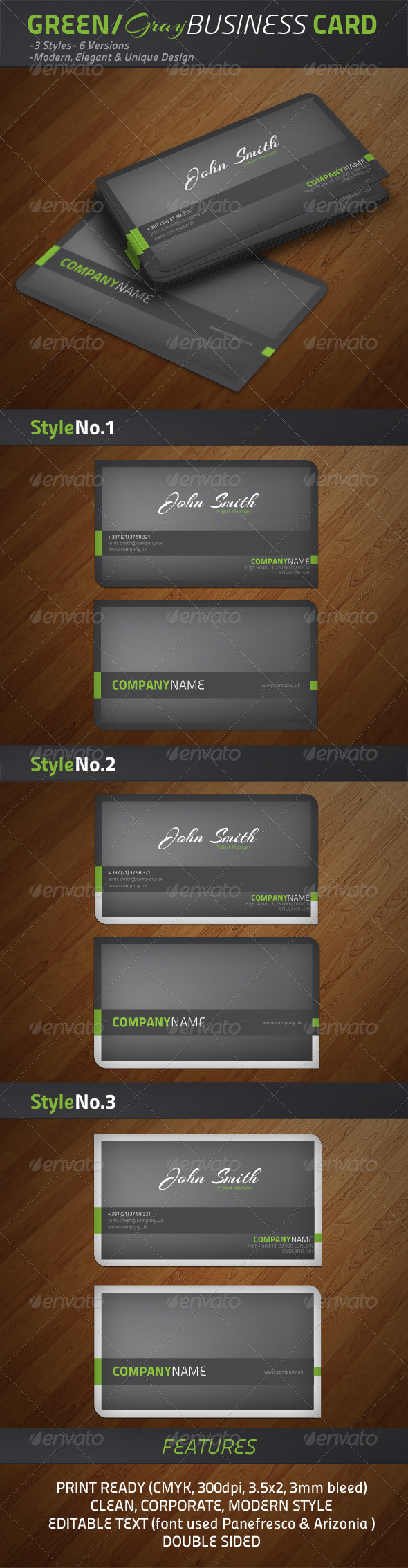 Green/Grey Modern Business Cards - Creative Business Cards