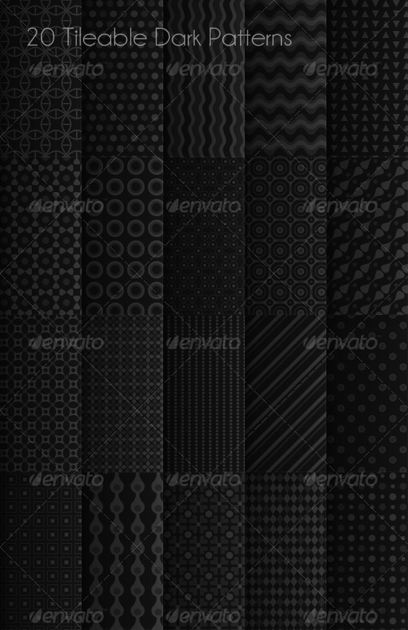 20 Tileable Dark Patterns - Techno / Futuristic Textures / Fills / Patterns