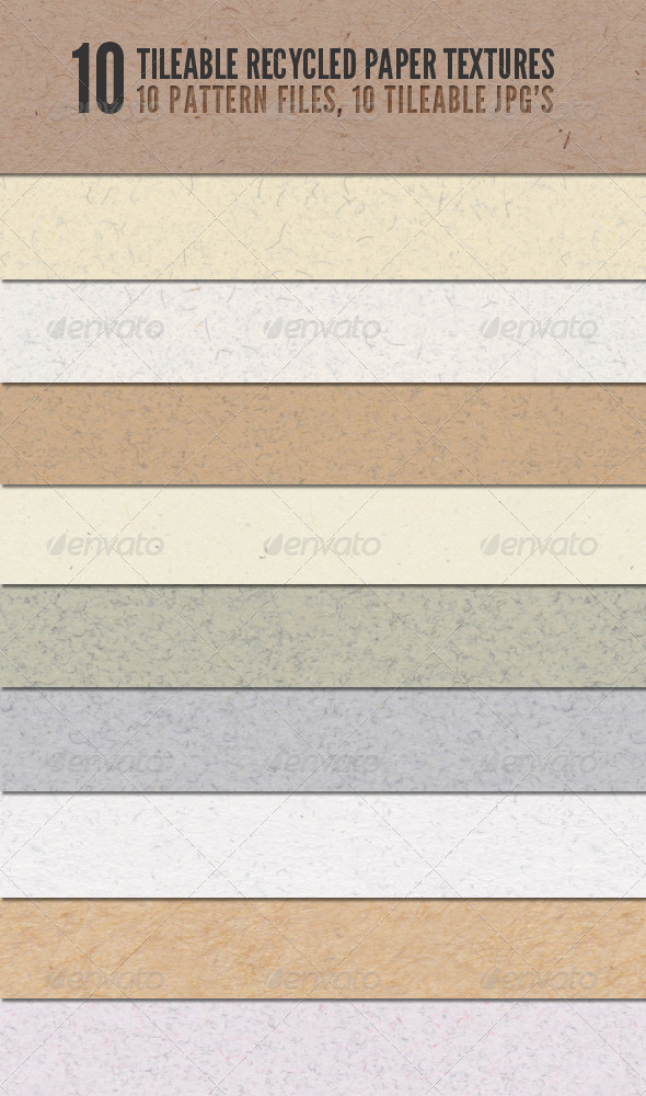 GraphicRiver Tileable Recycled Paper Textures 168528