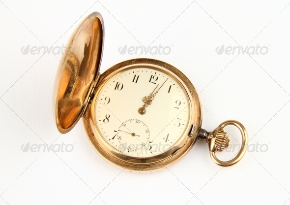Golden pocket watch - Stock Photo - Images