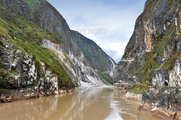 World's deepest gorge: Hutiaoxia in China  - Stock Photo - Images