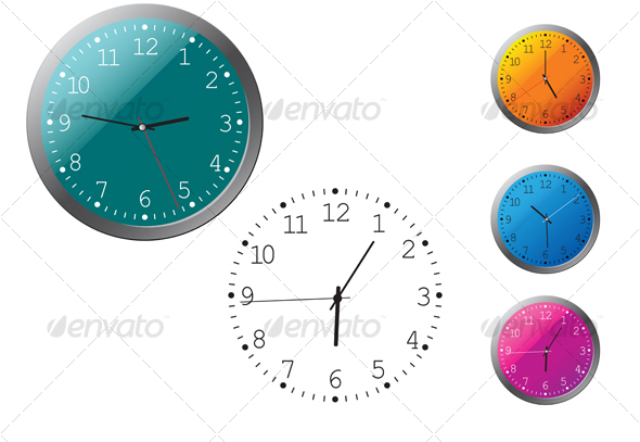 GraphicRiver Office clocks in different colors 56494