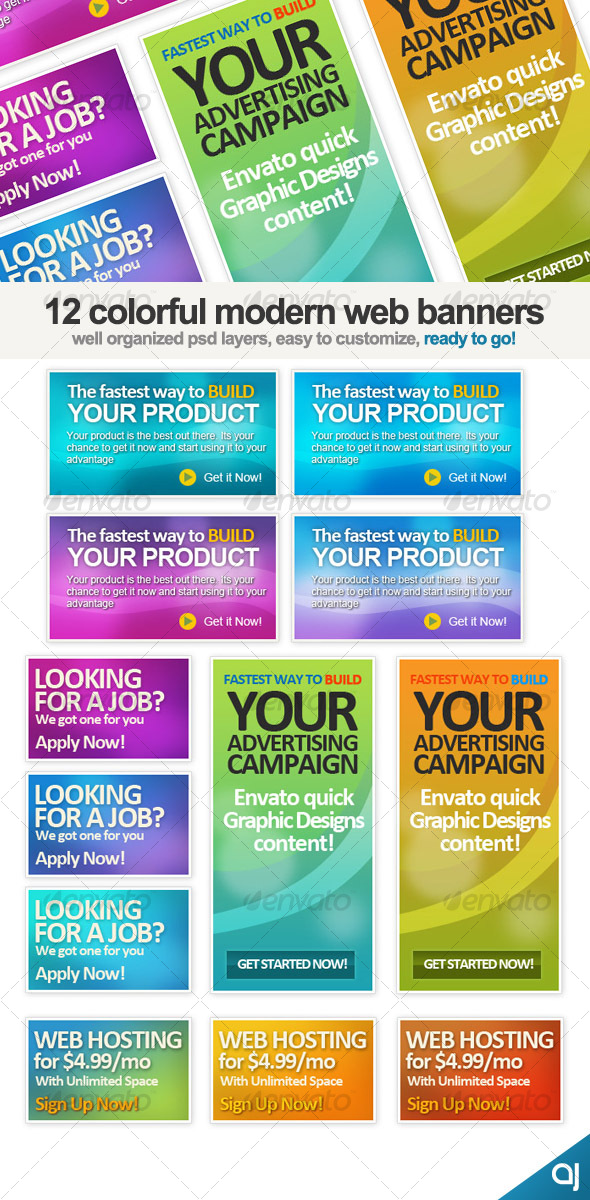 GraphicRiver 12 Different Web banners set 56506