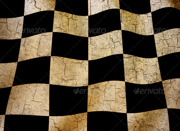 Grunge chequered flag  - Stock Photo - Images