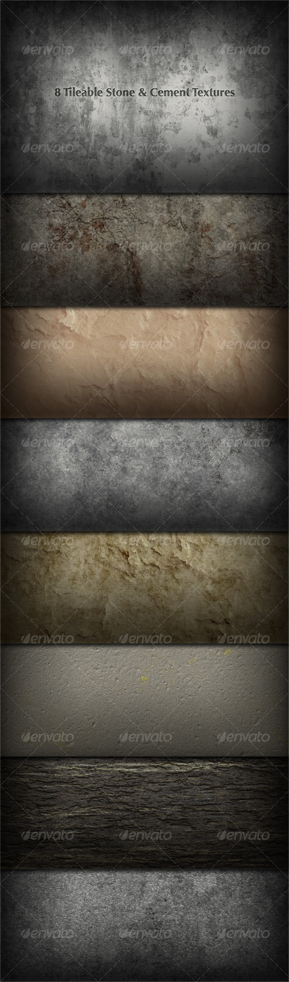 8 Tileable Stone/Concrete/Plaster Textures - Miscellaneous Textures / Fills / Patterns