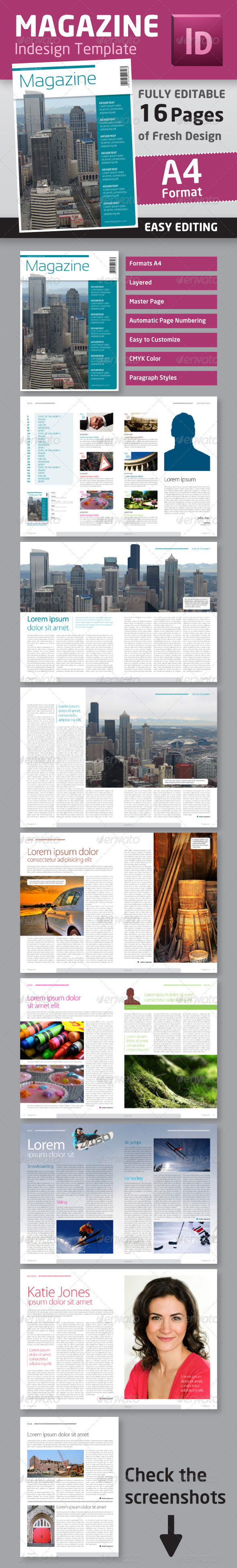 Indesign Magazine Template in A4 Format - Magazines Print Templates