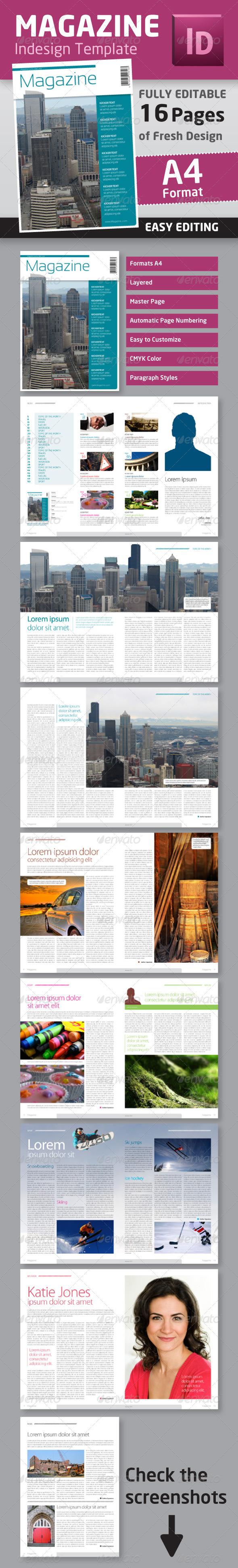 indesign magazine template in a4 format graphicriver. Black Bedroom Furniture Sets. Home Design Ideas