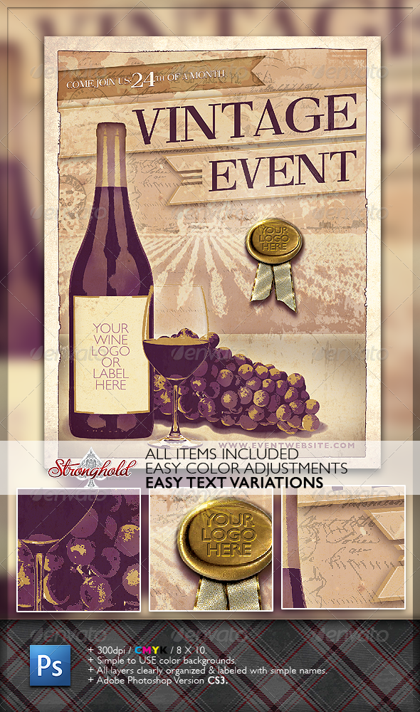 Vintage Wine Event Flyer - Clubs & Parties Events