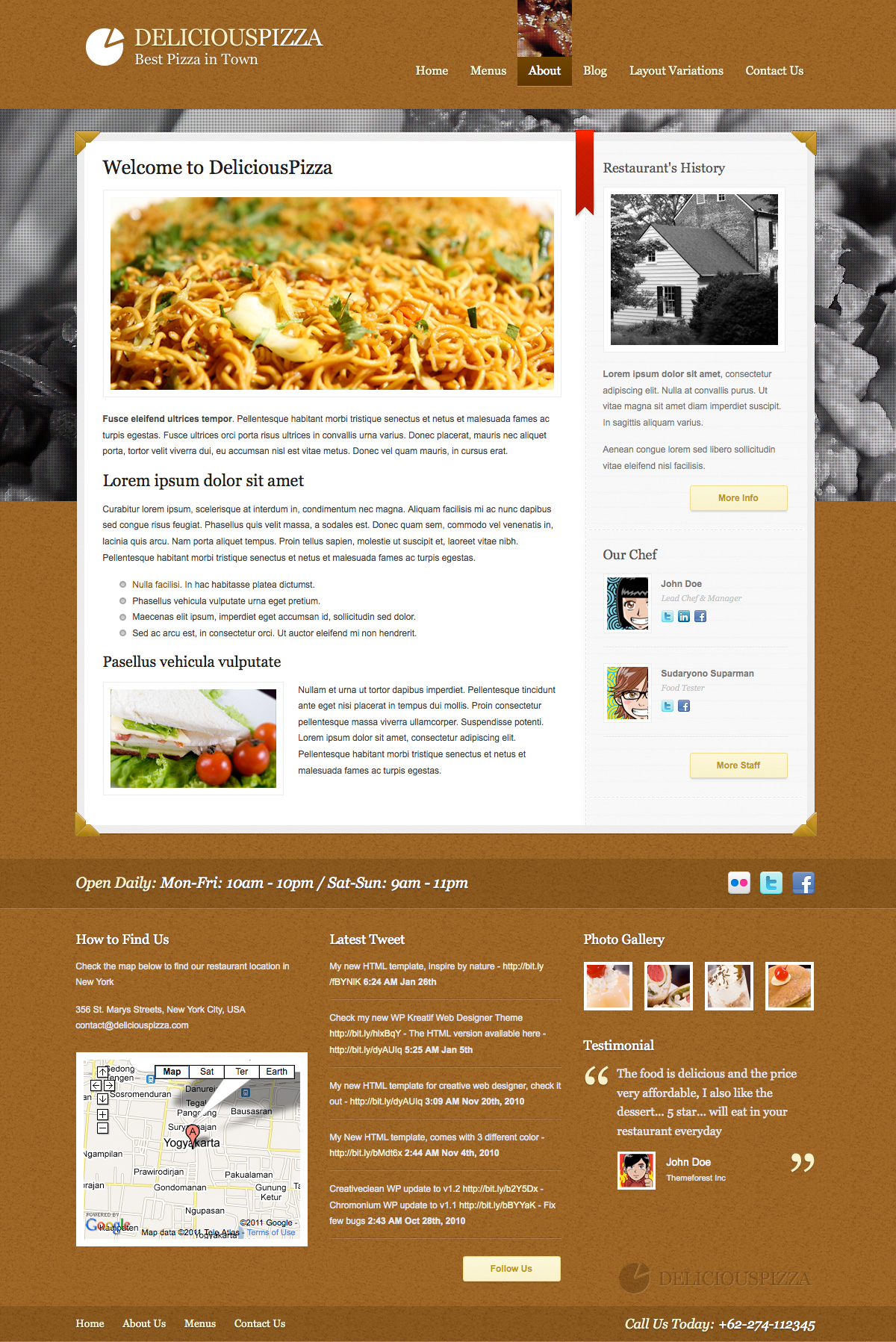 Green Delicious Restaurant Layout - About Us - Brown Color