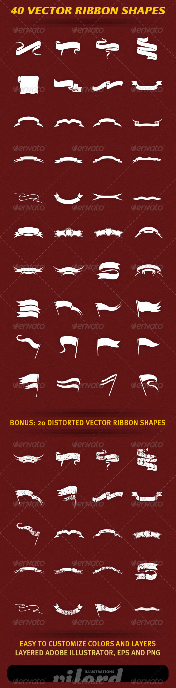 40 Vector Ribbon Shapes - Decorative Symbols Decorative