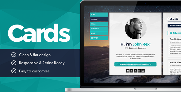 cards personal vcard resumecv portfolio wordpress theme by template_path