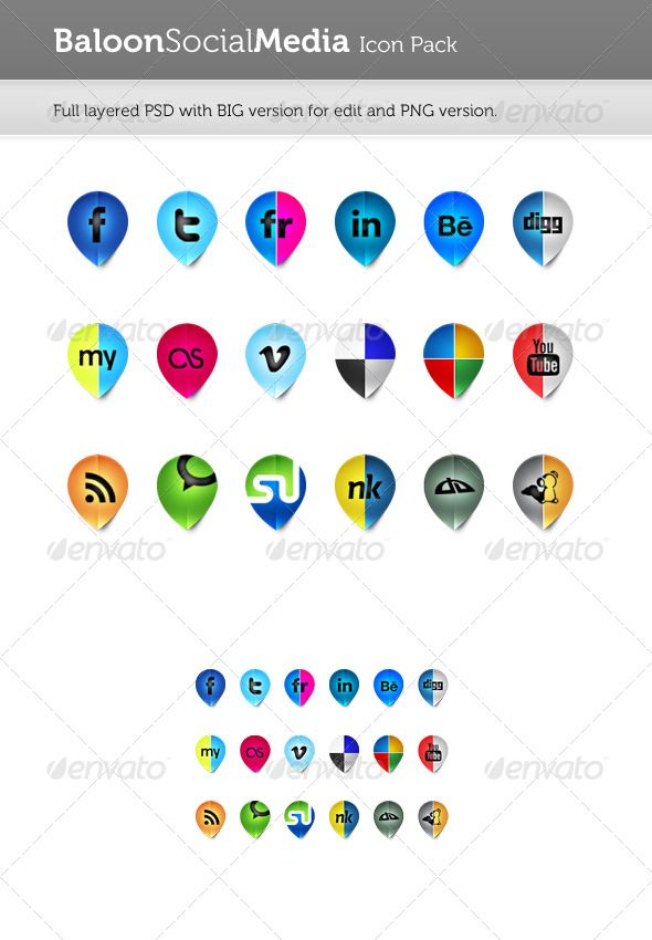 Baloon Social Media Icon Pack - Media Icons
