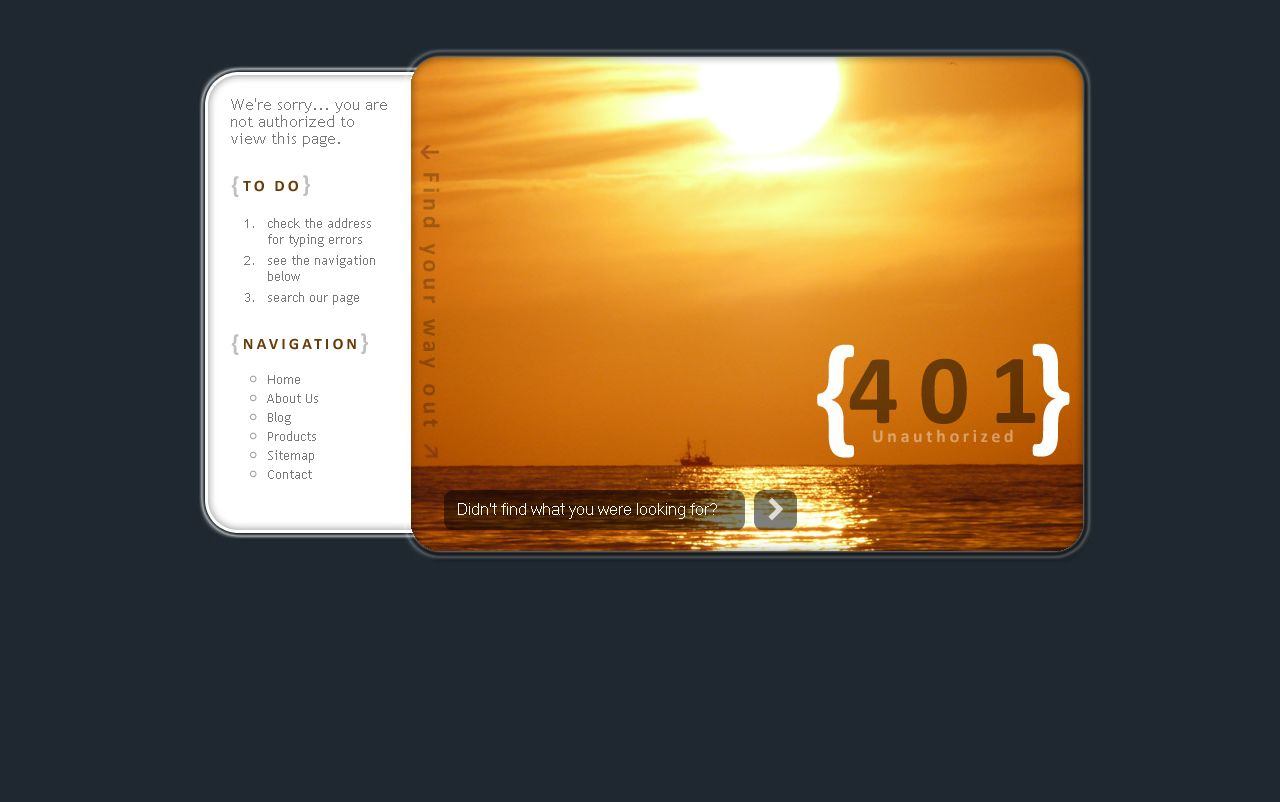 SunSet Error Pages (401, 403, 404, 500, 503) - Error Page 401