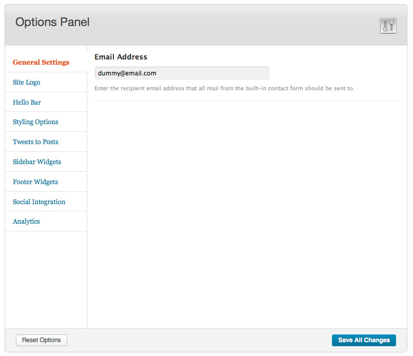 Elementi Responsive Wordpress Theme - This is the theme options panel featuring all of the available options.