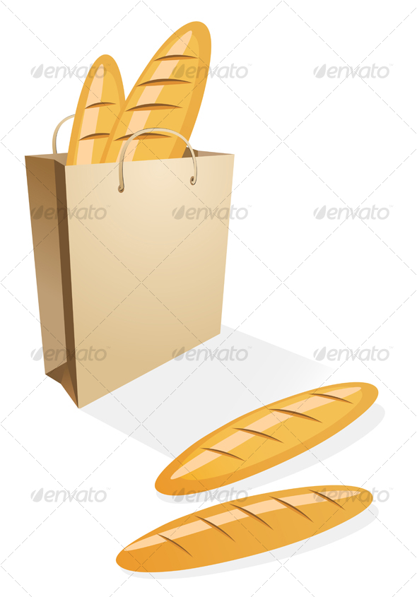 Shopping bag with bread - Food Objects