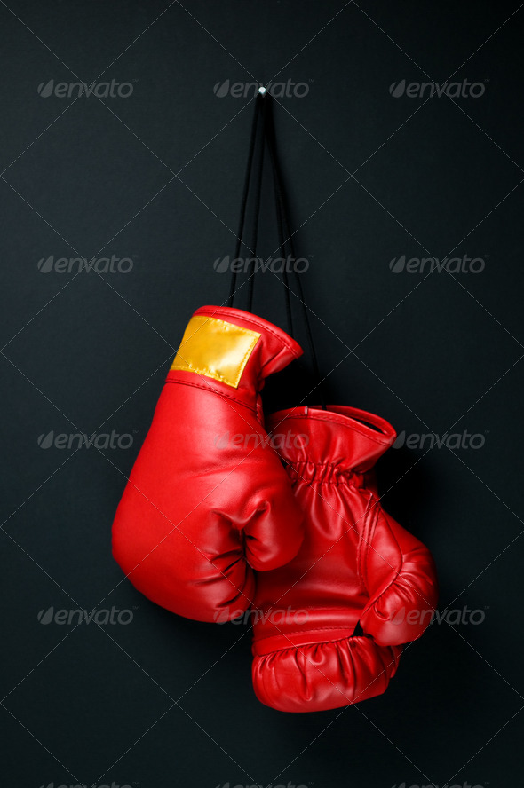 Red boxing gloves  - Stock Photo - Images