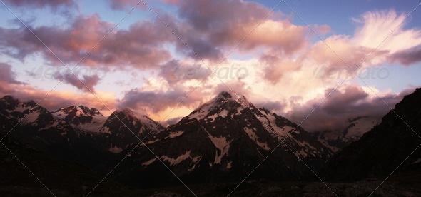 Sunset in mountains - Stock Photo - Images