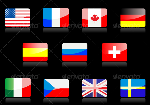 Glossy national flags on the black - Decorative Vectors