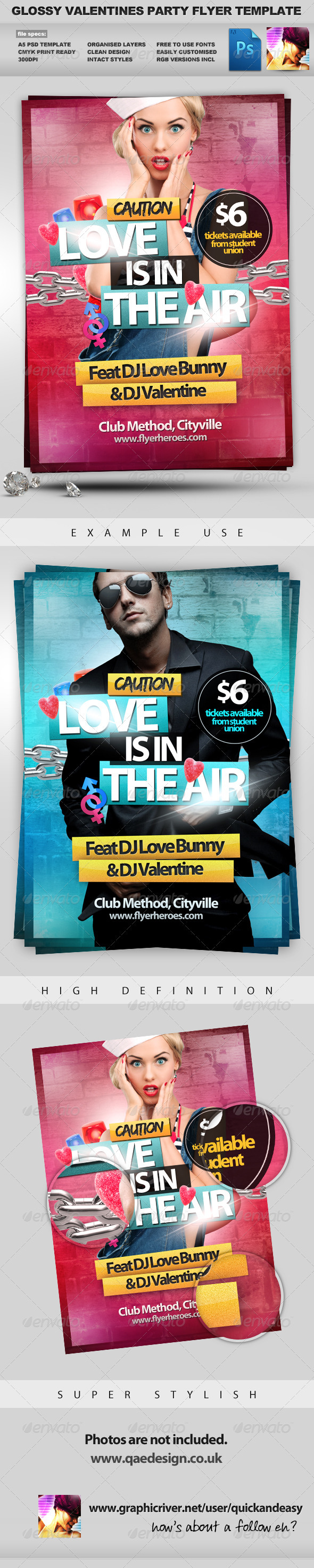 Love is in the Air - Valentines Flyer Template - Clubs & Parties Events