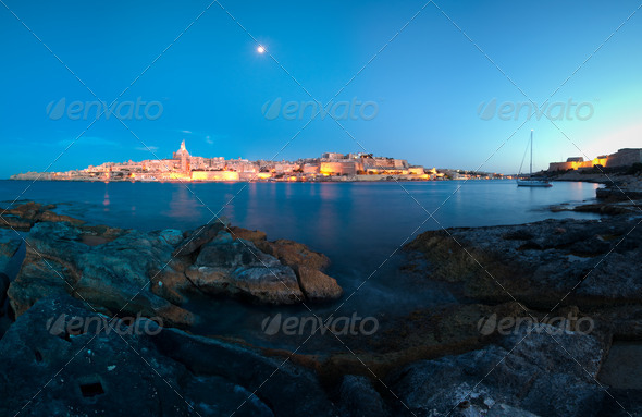 Panorama of Valletta from Manoel Island at dusk - Stock Photo - Images
